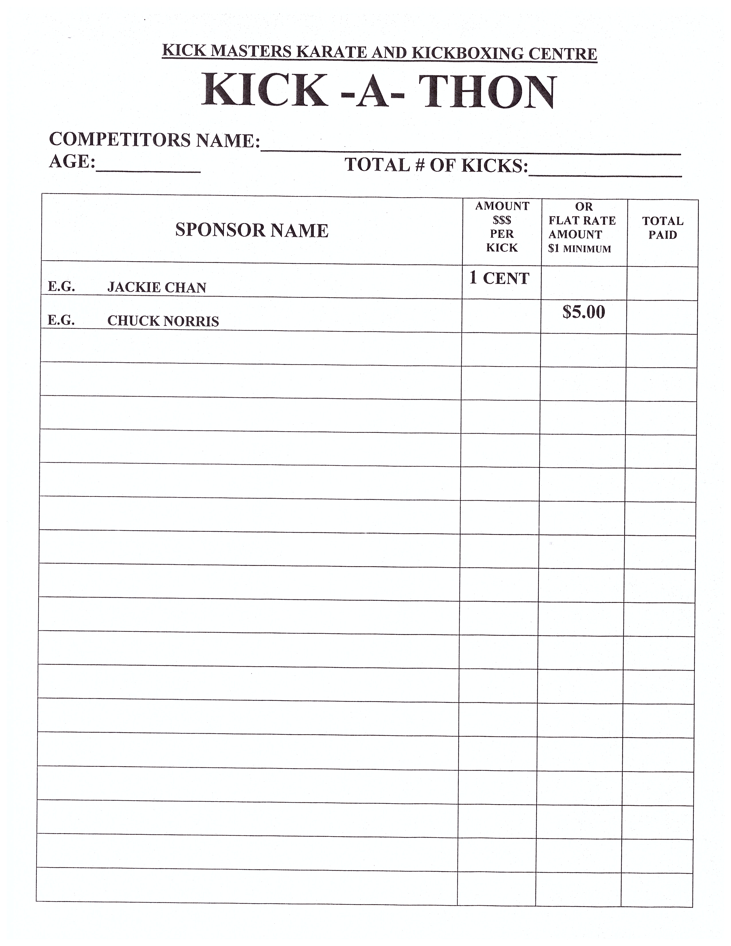 KICK MASTERS Karate Kickboxing – Sponsor Sheets